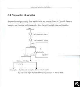 Sampling and processing flow chart of crude ore of mineral dressing test